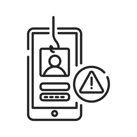 Phishing black line icon. Internet scam. Hacking account and password. Pictogram for web page, mobile app, promo. UI UX GUI design element