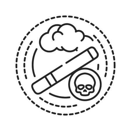 Smoking addiction black line icon. Physical or emotional dependence on nicotine. Pictogram for web page, mobile app, promo. UI UX GUI design element. Editable stroke.