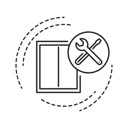 Window installation black line icon. Setting the window and window's sill into the opening. Handyman services. Pictogram for web page, mobile app, promo. UI UX GUI design element. Editable stroke
