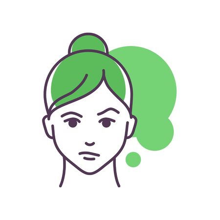 Human feeling confusion line color icon. Face of a young girl depicting emotion sketch element. Cute character on green background. Outline vector illustration 向量圖像