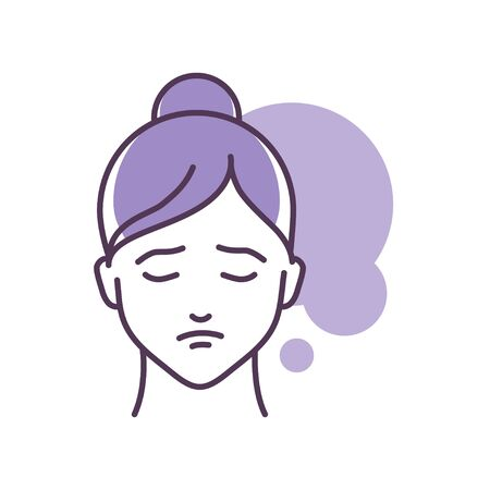 Human feeling depression line color icon. Face of a young girl depicting emotion sketch element. Cute character on violet background. Outline vector illustration.