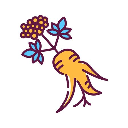 Korean ginseng flower and root line color icon. Alternative medicine from asia. Sign for web page, mobile app, button. Editable stroke