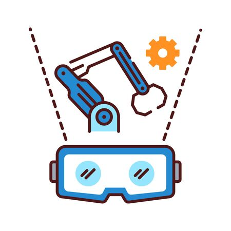 VR manufacturing color line icon. Cyber technology. Pictogram for web page, mobile app, promo. UI UX GUI design element. Editable stroke  イラスト・ベクター素材