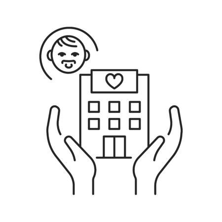 Pediatric hospice black line icon. Palliative help children. Pictogram for web page, mobile app, promo. UI UX GUI design element