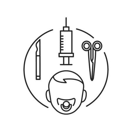 Pediatric surgery black line icon. Medical service and treatment children. Pictogram for web page, mobile app, promo. UI UX GUI design element