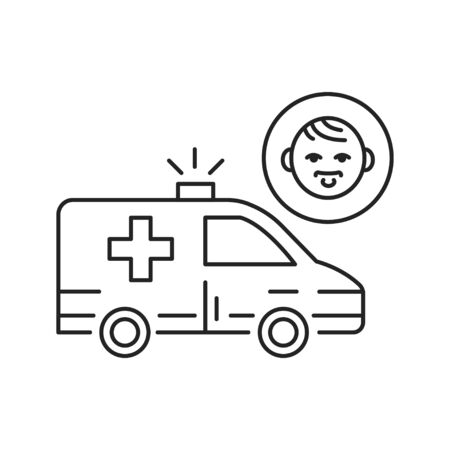 Pediatric urgent care black line icon. First aid children. Pictogram for web page, mobile app, promo. UI UX GUI design element