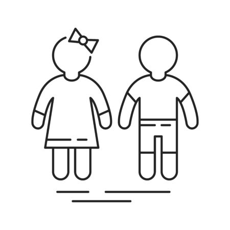Girl and boy black line icon. Childcare concept. Pictogram for web page, mobile app, promo. UI UX GUI design element.