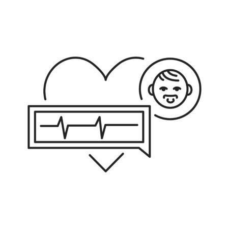 Pediatric cardiology black line icon. Pulse measurement, heart diagnosis in children. Pictogram for web page, mobile app, promo. UI UX GUI design element. 向量圖像