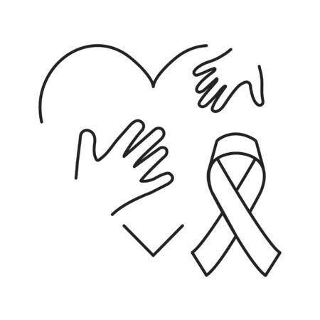 Pediatric oncology black line icon. Cancer treatment in children. Pictogram for web page, mobile app, promo. UI UX GUI design element.