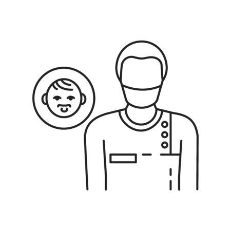 Pediatric surgeon black line icon. Doctor for children. Medical service and treatment children. Pictogram for web page, mobile app, promo. UI UX GUI design element.