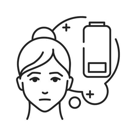 Weakness black line icon. Flu symptom. Pictogram for web page, mobile app, promo. UI UX GUI design element. Editable stroke