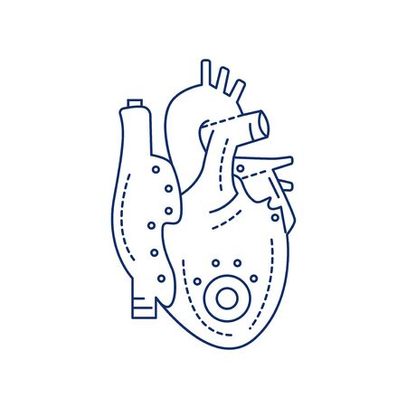 Bio artificial heart black line icon. Engineered heart. Contains the extracellular structure. Replaces an absent natural herart. Pictogram for web page, mobile app, promo. Editable stroke.
