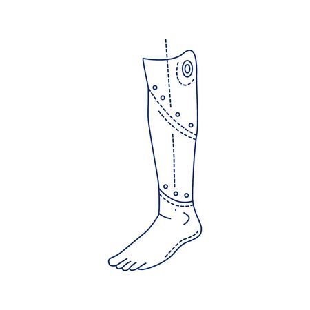 Bio artificial leg black line icon. Type of prosthesis. Replaces an absent natural leg. Pictogram for web page, mobile app, promo. UI UX GUI design element. Editable stroke