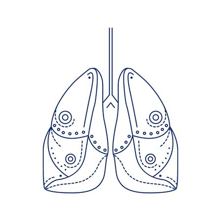Bio artificial lungs black line icon. Prosthetic device that provides oxygenation of blood and removal of carbon dioxide from the blood. Pictogram for web page, mobile app, promo. Editable stroke