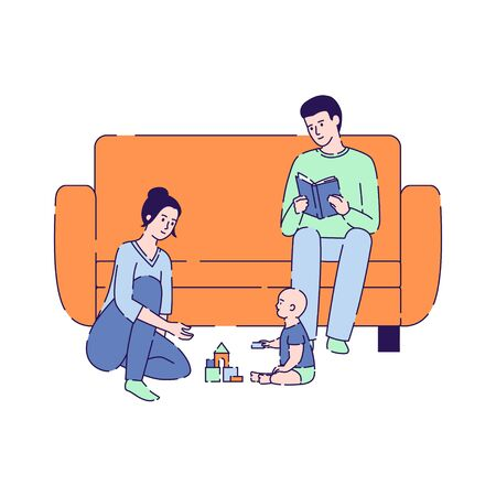 Quarantine vector illustration. Stay at home. Mother play with child, father reading book. Global viral epidemic or pandemic. Isolated cartoon character on a white background