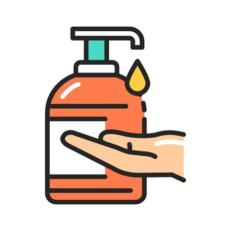 Antibacterial soap and hand color line icon. Hygiene product. Pictogram for web page, mobile app, promo. UI UX GUI design element. Editable  イラスト・ベクター素材