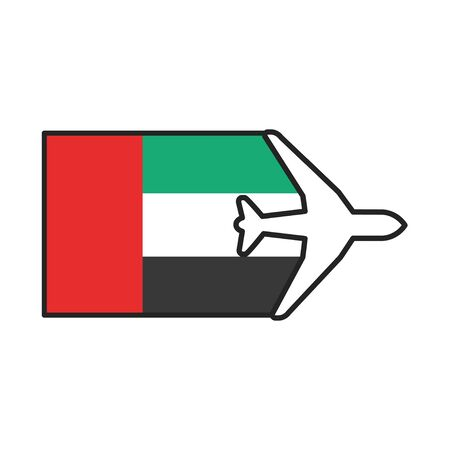 Flag of United Arab Emirates UAE color line icon. Airline network. International flights. Popular tourist destination. Pictogram for web page, mobile app, promo. Editable stroke.