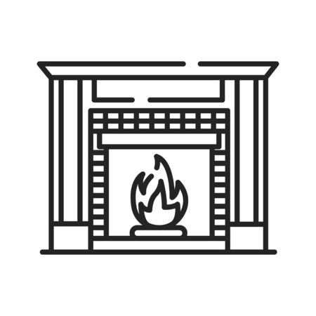 Fireplace black line icon. Structure made of brick, stone or metal designed to contain a fire. Used for the relaxing ambiance Pictogram for web page. UI UX GUI design element