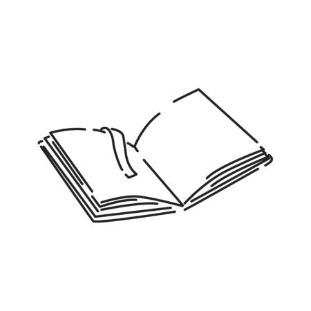 Open book black line icon. Book in expanded form, which can be immediately read. Pictogram for web page, mobile app, promo. UI UX GUI design element. Editable stroke