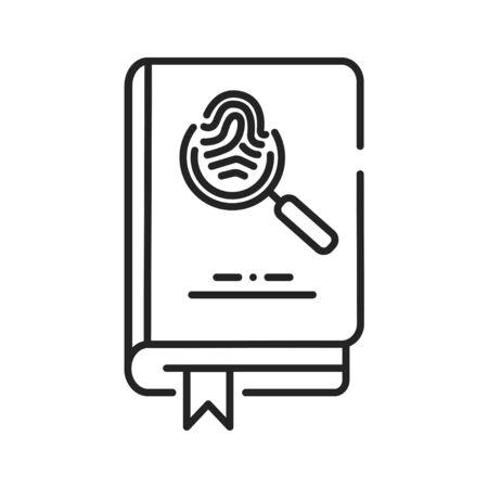 Detective book black line icon. A sub-genre of crime and mystery fiction. An investigator investigates a crime, often murder. Pictogram for web page, mobile app, promo. UI UX GUI design element.