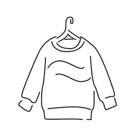 Pullover black line icon. A piece of woollen clothing that covers the upper part of body and arms. Pictogram for web page, mobile app, promo. UI UX GUI design element. Editable stroke
