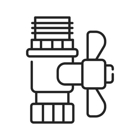 Valve black line icon. Device that regulates, directs or controls the flow of a fluid by opening, closing, or partially obstructing various passageways Banco de Imagens - 144943144