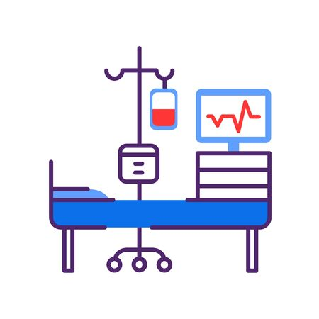 Chemotherapy line color icon. Hospital ward, intensive therapy. Medical treatment. Palliative care. Sign for web page, mobile app, button . Vector isolated element. Editable stroke