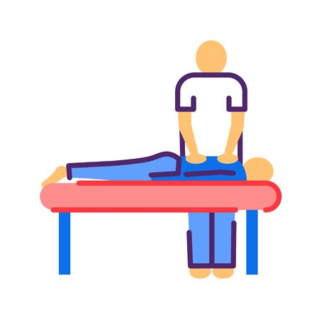 Massage procedure line color icon. Physiotherapy, acupuncture, rehabilitation concept. Health medical treatment. Illustration