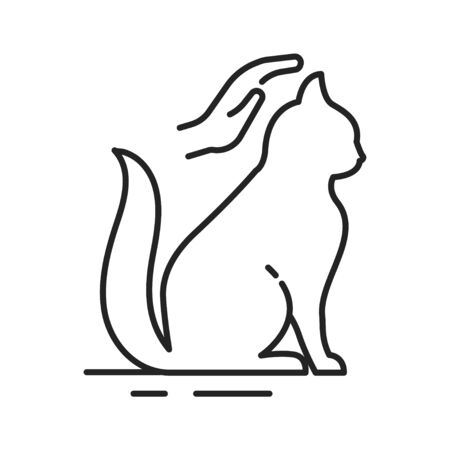 Cat care black line icon. Improving the life of cats. Actions aimed at their care. Pictogram for web page, mobile app, promo. UI UX GUI design element. Editable stroke Çizim