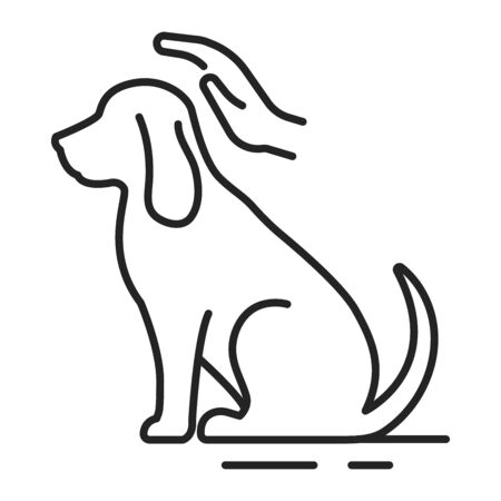 Dog care black line icon. Improving the life of dogs. Actions aimed at their care. Pictogram for web page, mobile app, promo. UI UX GUI design element. Editable stroke. Çizim