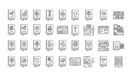 Genres of books black line icons set. Collection of all genres in literature. Pictogram for web page, mobile app, promo. UI UX GUI design element 向量圖像