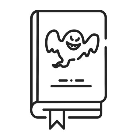 Horror book black line icon. A genre of speculative fiction which is intended to scare, or startle its readers by inducing feelings of horror and terror. Pictogram for web page, mobile app, promo. UI UX GUI design element. Editable stroke. Ilustrace