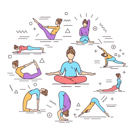 Yoga web banner. Different yoga poses and asanas. Infographics with linear icons on white background. Creative idea concept. Isolated outline color illustration