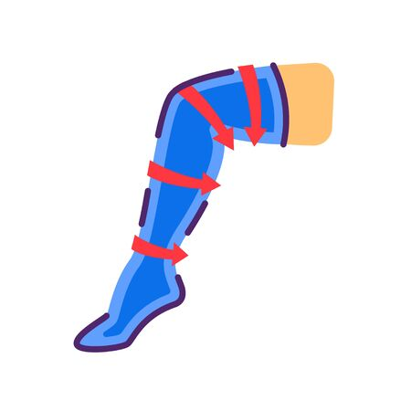 Compression stockings flat color icon. Orthopedic knitwear. Rehabilitation and treatment after injuries and in the postoperative period, venous diseases, leg swelling.