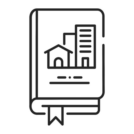 Real estate book black line icon. Lerning about buildings or housing in general. Pictogram for web page, mobile app, promo. UI UX GUI design element. Editable stroke.