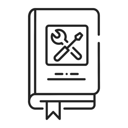 Technics repair book black line icon. Course about technical and repair knowledge. Pictogram for web page, mobile app, promo. UI UX GUI design element. Editable stroke Stock Illustratie