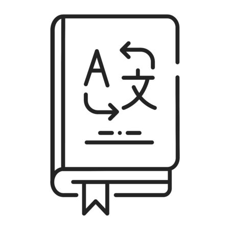 Vocabulary color line icon. Translate words from different languages. Pictogram for web page, mobile app, promo. UI UX GUI design element. Editable stroke