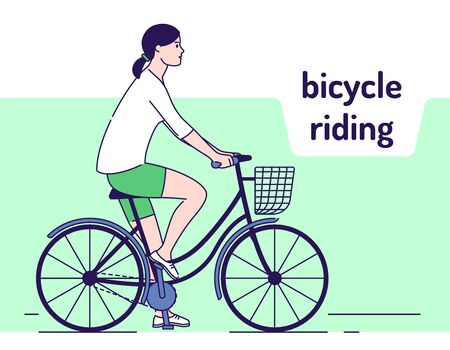 Young girl rides on female bike with basket vector illustration. Healthy lifestyle and rest on nature. Adorable female bicyclist. Isolated cartoon characters on a green background