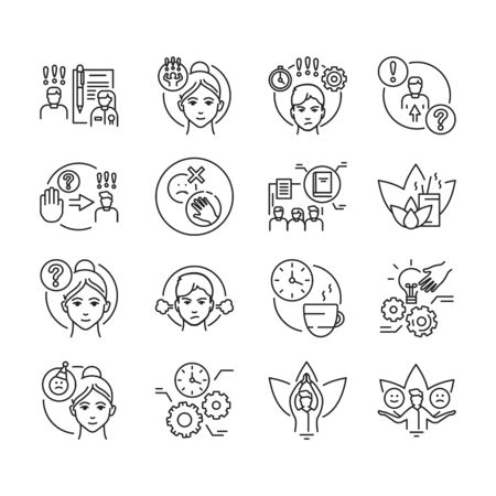 Self control black line icons set. Ability to regulate one's emotions, thoughts, and behavior in the face of temptations Pictogram for web page, mobile app, promo. Editable stroke. Ilustracja