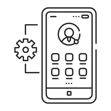 Mobile application management black line icon. Describes software and services responsible for provisioning access to internally developed mobile apps. Pictogram for web page, mobile app, promo. UI UX GUI design element. Çizim