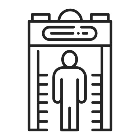 Metal detector black line icon. Electronic machine. Detects the presence of metal nearby. Pictogram for web page, mobile app, promo. UI UX GUI design element. Editable stroke