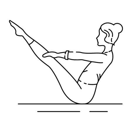 Boat Pose Navasana black line icon. The body comes into a V-shape, balancing entirely on the buttocks. UI UX GUI design element. Editable stroke.