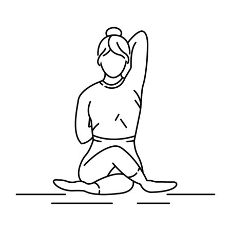 Gomukhasana cow head pose black line icon. Stretches the ankles, hips and thighs, shoulders, armpits and triceps and chest. Pictogram for web page, mobile app, promo. Editable stroke