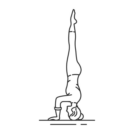 Salamba Sirsasana black line icon. The body is completely inverted, and held upright supported by the forearms and the crown of the head. UI UX GUI design element. Editable stroke. Illustration