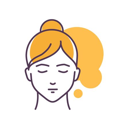 Human feeling patience line color icon. Face of a young girl depicting emotion sketch element. Cute character on yellow background. Outline vector illustration.