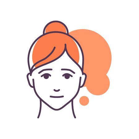 Human feeling pity line color icon. Face of a young girl depicting emotion sketch element. Cute character on yellow background. Outline vector illustration