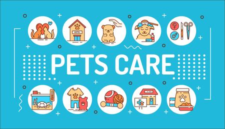 Pets care word lettering typography. Services for domestic animals. Infographics with linear icons on blue background. Creative idea concept. Isolated outline color illustration