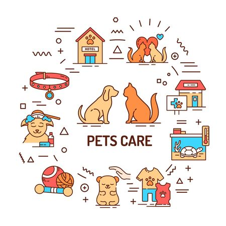 Pets care web banner. Services for domestic animals. Infographics with linear icons on white background. Creative idea concept. Isolated outline color illustration.