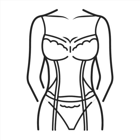 Corsage lingerie color line icon. The part of a woman s lingerie, covering the chest, back and sides. Pictogram for web page, mobile app, promo. UI UX GUI design element. Editable stroke.