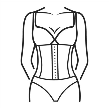 Corset lingerie black line icon. Bodice worn to mould and shape the torso. This effect is typically achieved through boning, either of bone or steel. Editable stroke